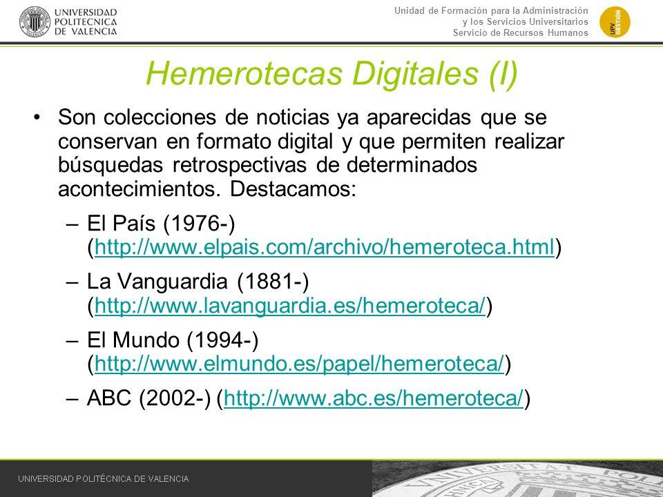 Hemerotecas Digitales (I)