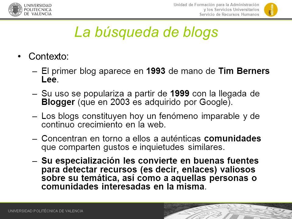 La búsqueda de blogs Contexto: