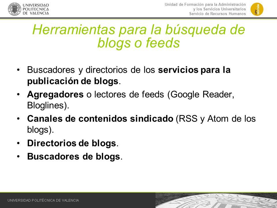 Herramientas para la búsqueda de blogs o feeds