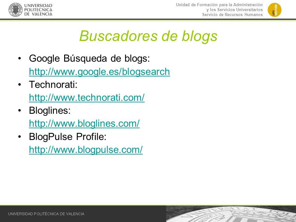 Buscadores de blogs Google Búsqueda de blogs:
