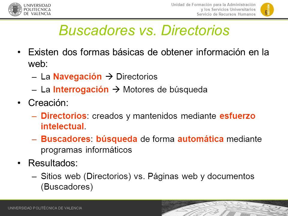 Buscadores vs. Directorios