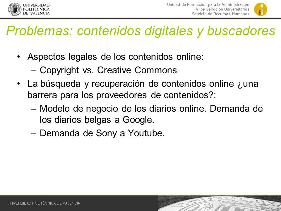 Problemas: contenidos digitales y buscadores