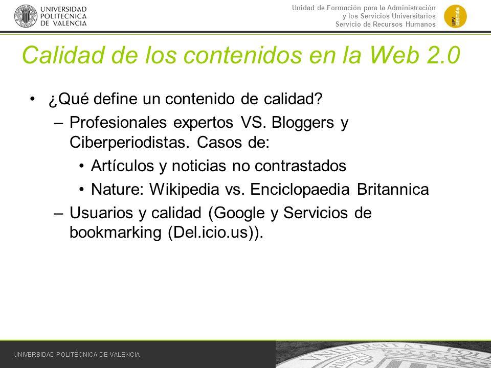 Calidad de los contenidos en la Web 2.0
