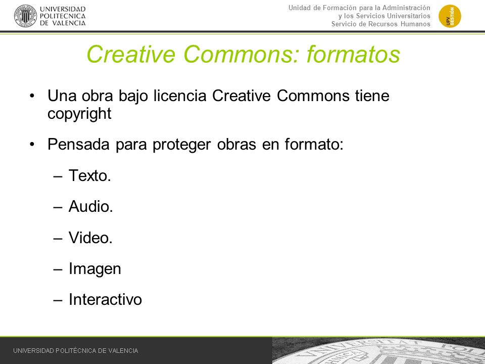 Creative Commons: formatos
