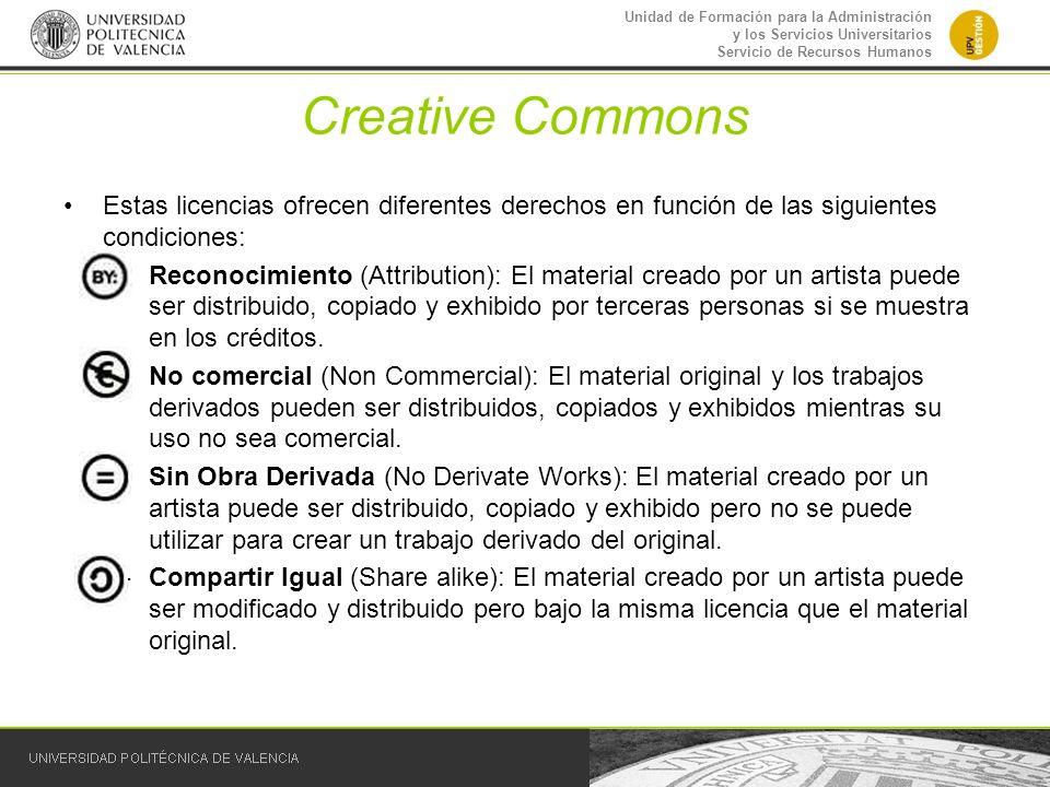 Creative Commons Estas licencias ofrecen diferentes derechos en función de las siguientes condiciones: