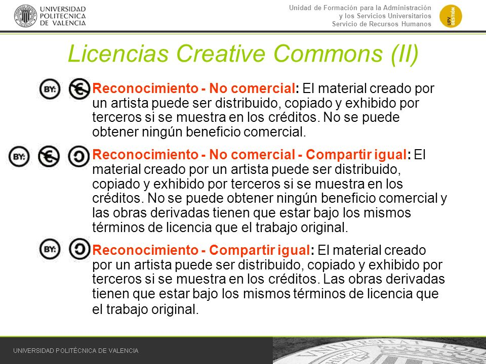 Licencias Creative Commons (II)