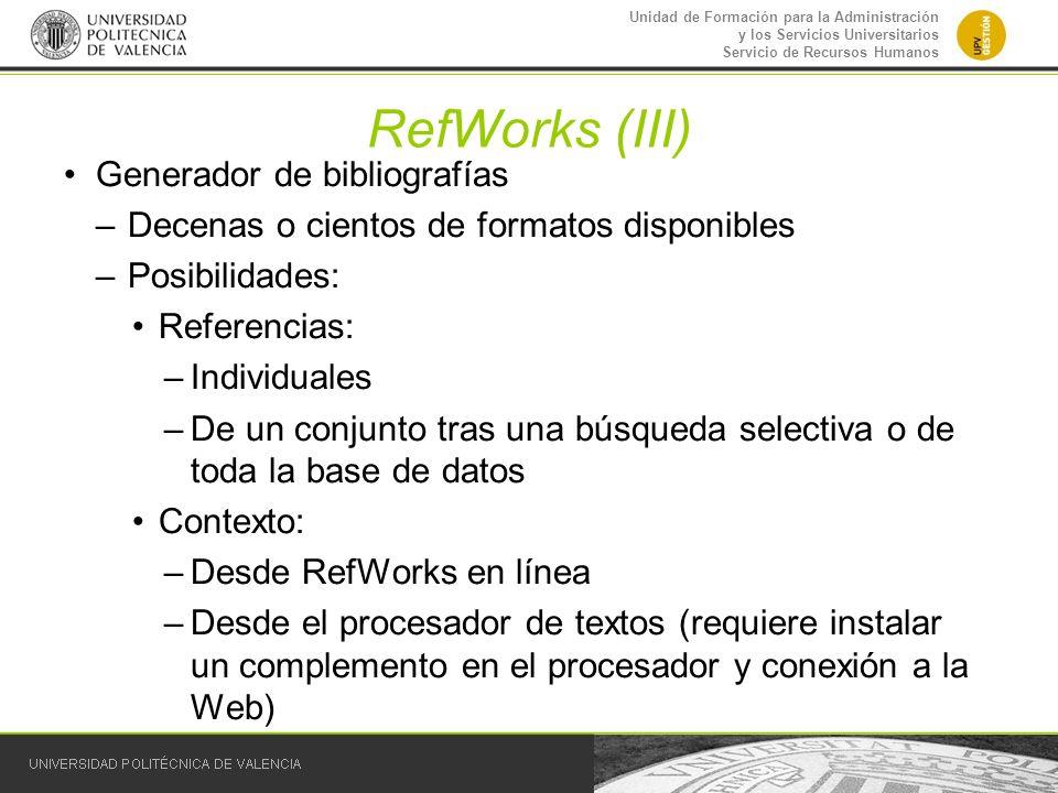 RefWorks (III) Generador de bibliografías