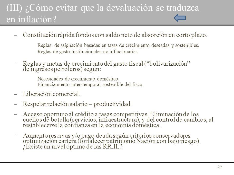 (III) ¿Cómo evitar que la devaluación se traduzca en inflación