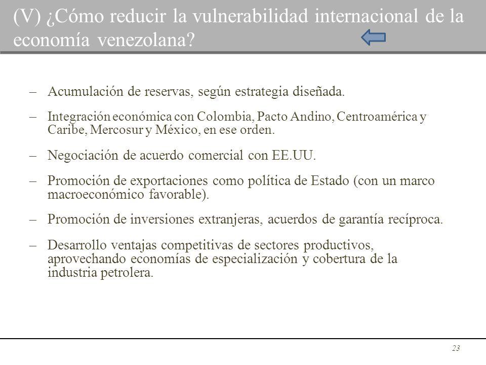 (V) ¿Cómo reducir la vulnerabilidad internacional de la economía venezolana