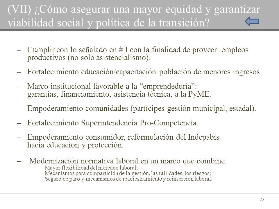 (VII) ¿Cómo asegurar una mayor equidad y garantizar viabilidad social y política de la transición