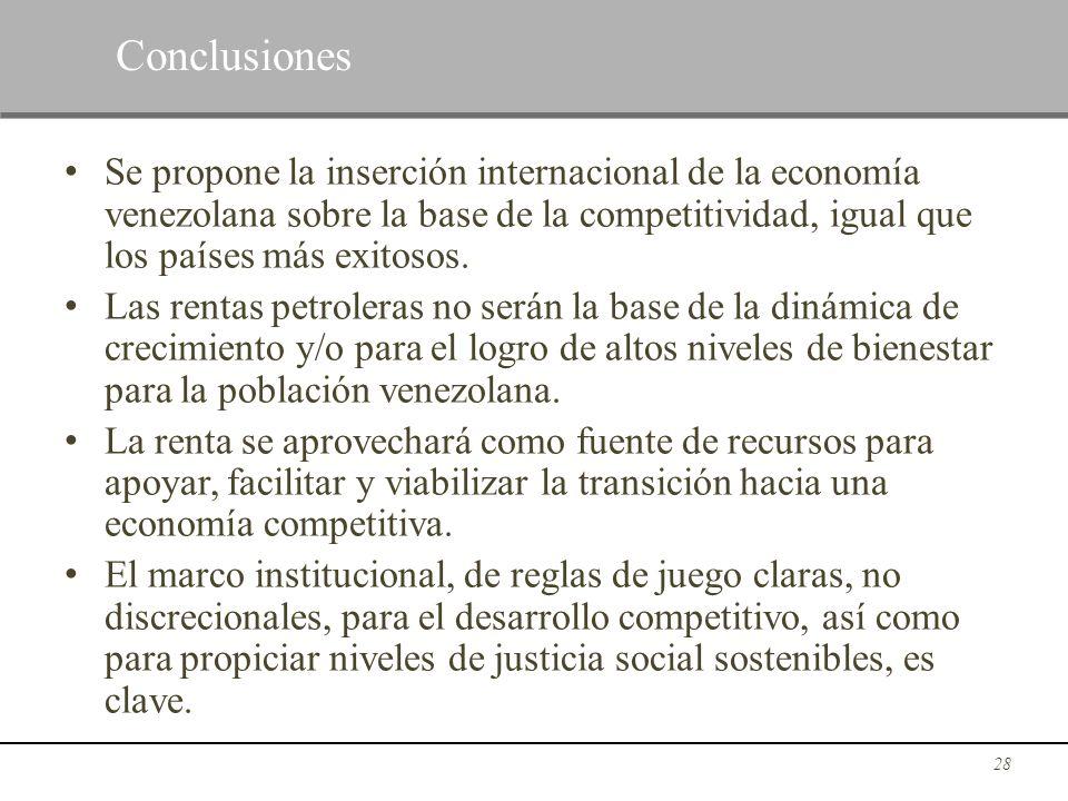 ConclusionesSe propone la inserción internacional de la economía venezolana sobre la base de la competitividad, igual que los países más exitosos.