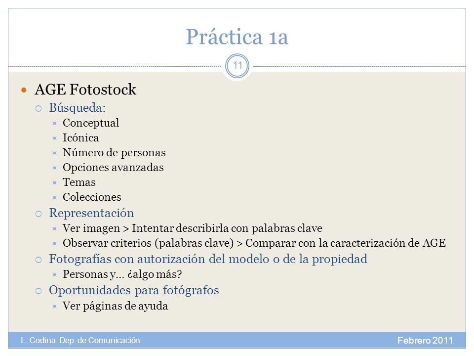 Práctica 1a AGE Fotostock Búsqueda: Representación