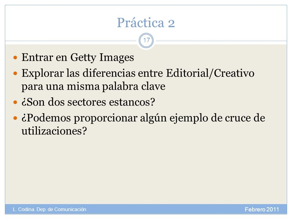 Práctica 2 Entrar en Getty Images