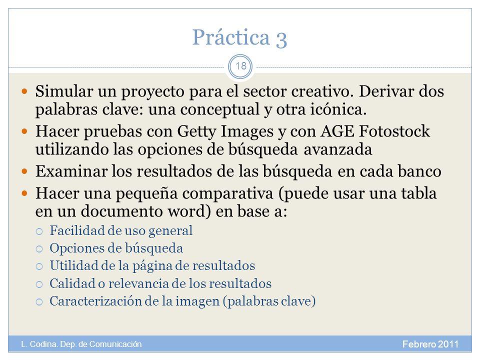 Práctica 3 Simular un proyecto para el sector creativo. Derivar dos palabras clave: una conceptual y otra icónica.
