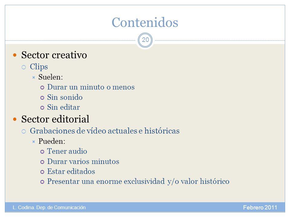 Contenidos Sector creativo Sector editorial Clips