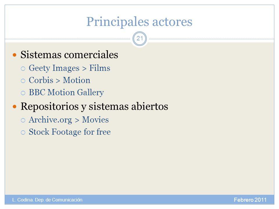 Principales actores Sistemas comerciales