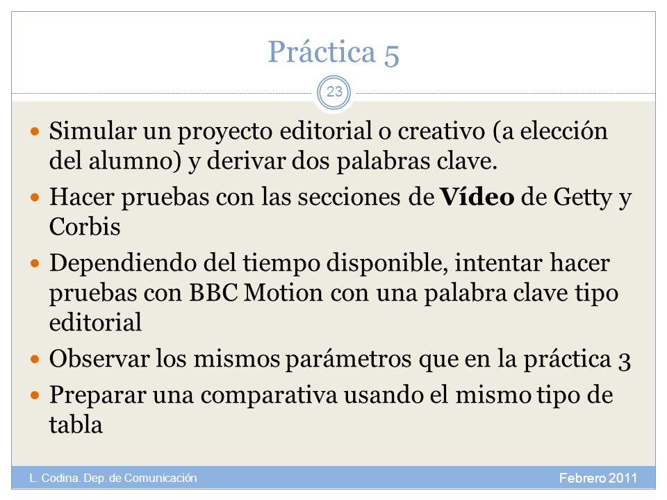 Práctica 5 Simular un proyecto editorial o creativo (a elección del alumno) y derivar dos palabras clave.