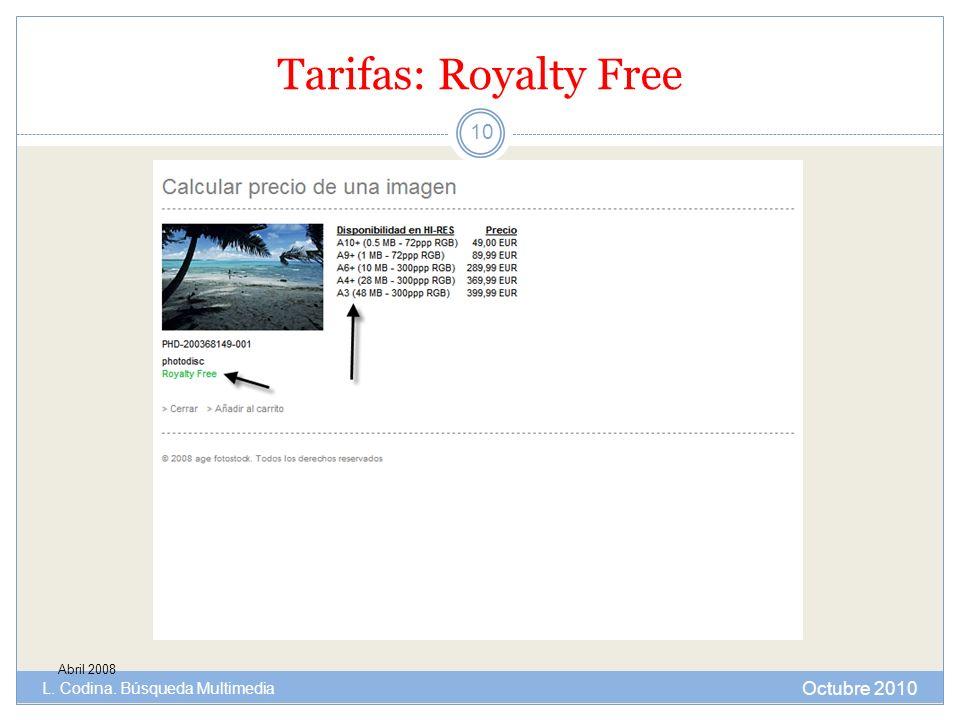 Tarifas: Royalty Free Octubre 2010 L. Codina. Búsqueda Multimedia
