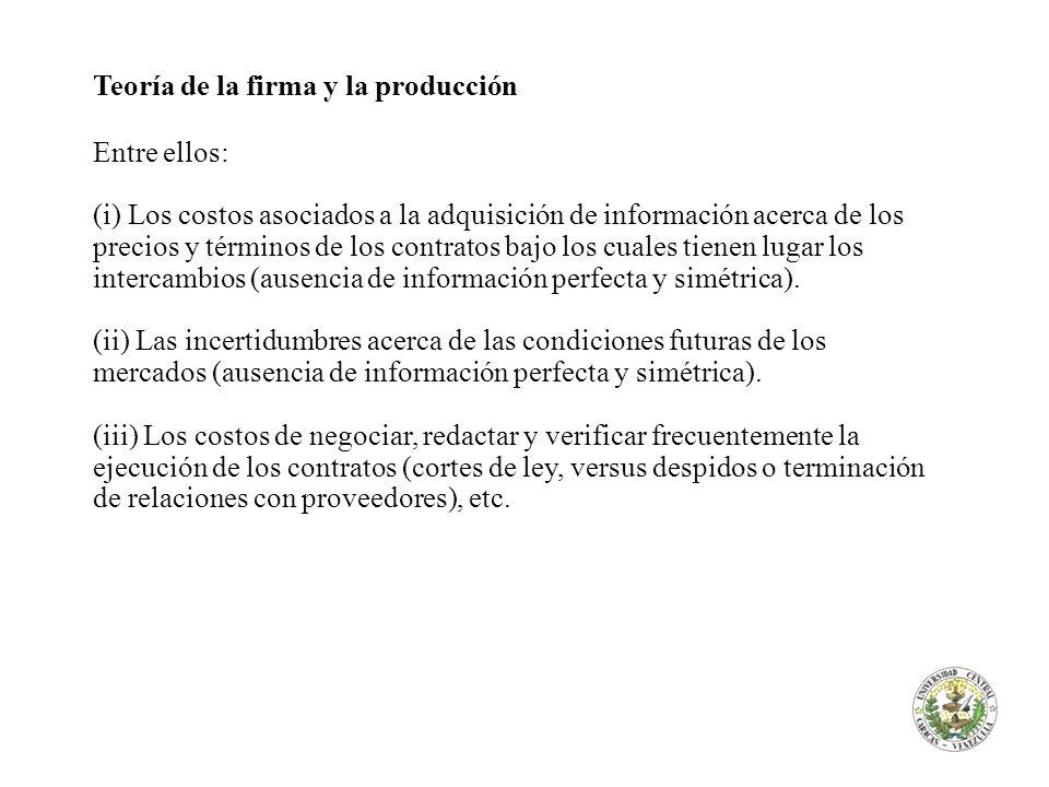 Teoría de la firma y la producción Entre ellos: