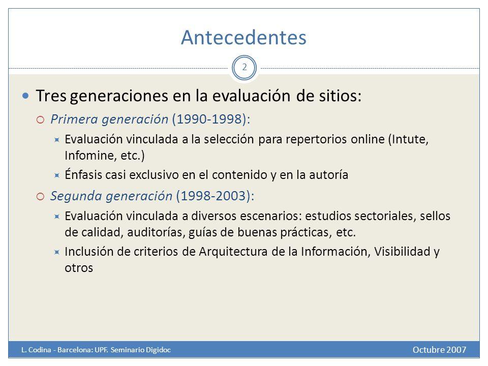Antecedentes Tres generaciones en la evaluación de sitios: