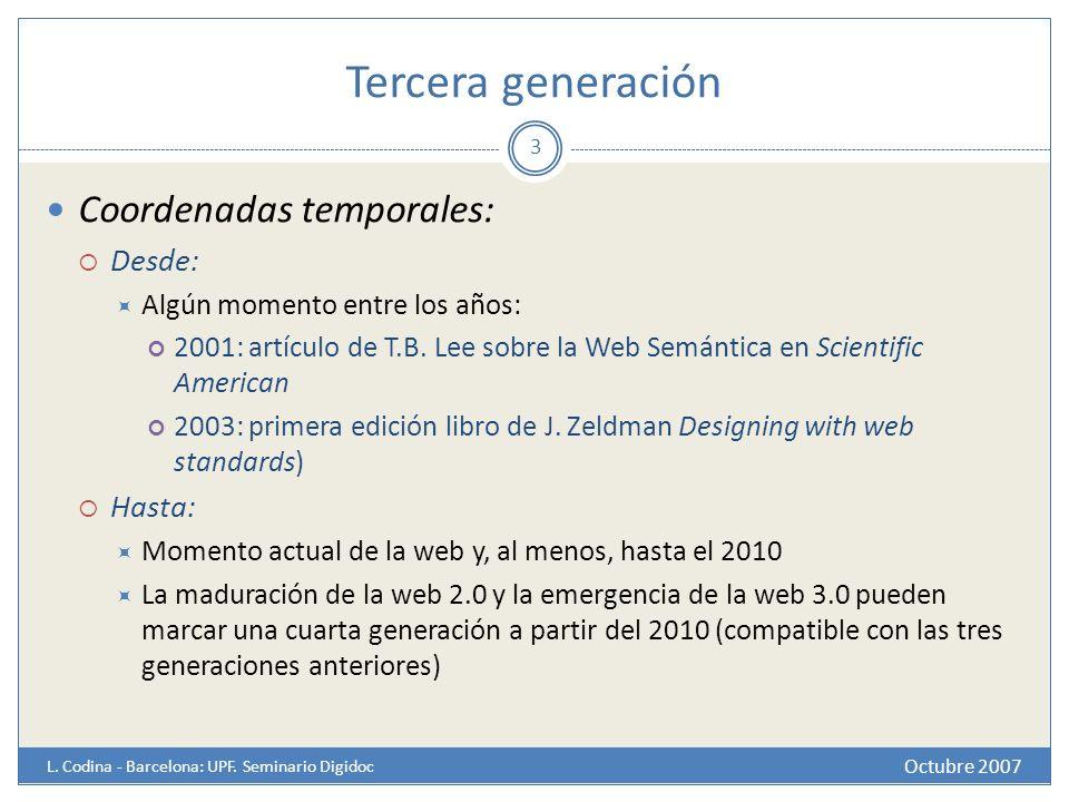 Tercera generación Coordenadas temporales: Desde: Hasta: