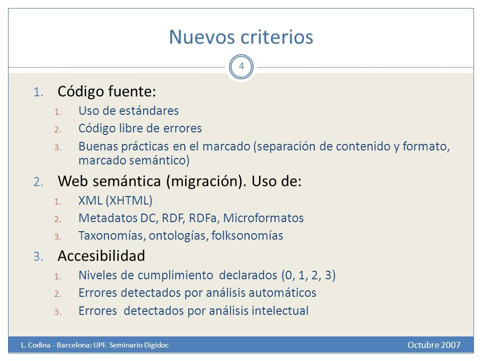 Nuevos criterios Código fuente: Web semántica (migración). Uso de: