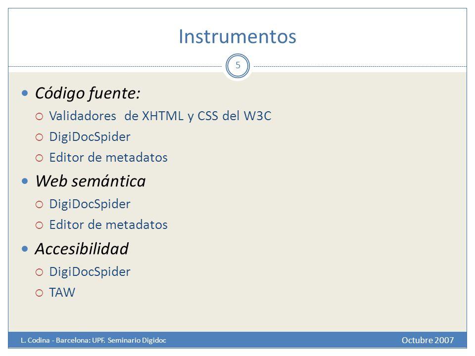 Instrumentos Código fuente: Web semántica Accesibilidad
