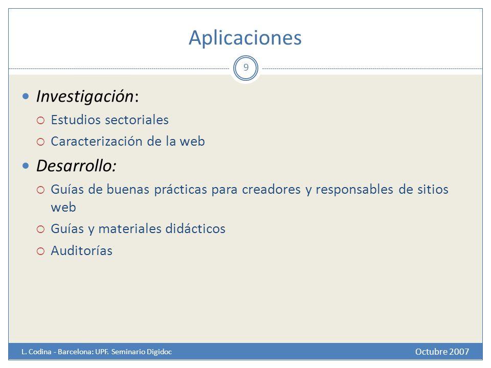 Aplicaciones Investigación: Desarrollo: Estudios sectoriales
