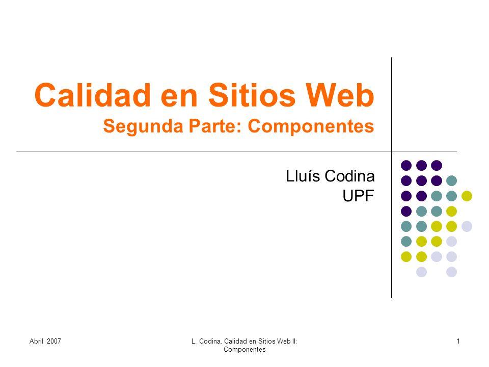 Calidad en Sitios Web Segunda Parte: Componentes