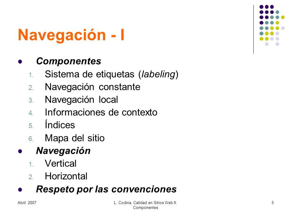 L. Codina. Calidad en Sitios Web II: Componentes