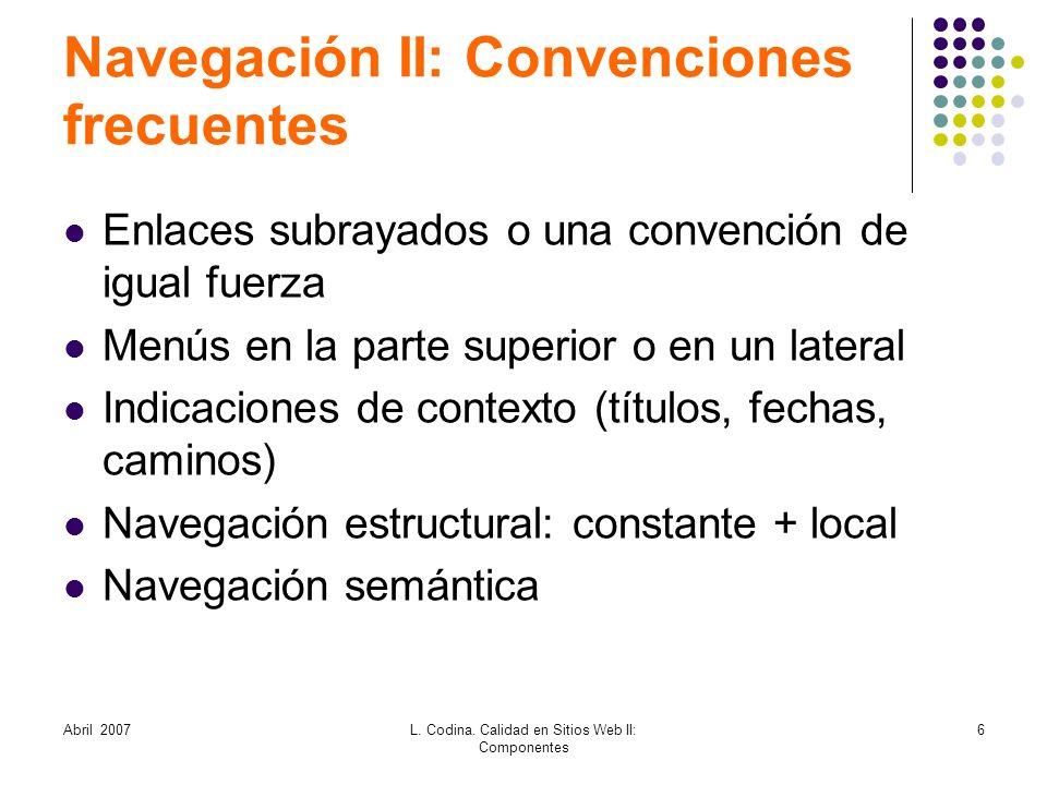 Navegación II: Convenciones frecuentes