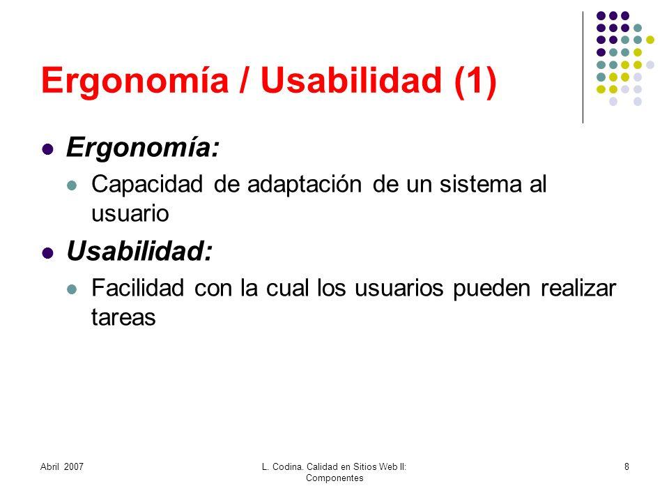 Ergonomía / Usabilidad (1)