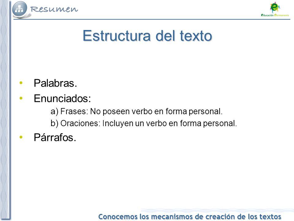 Estructura del texto Palabras. Enunciados: Párrafos.