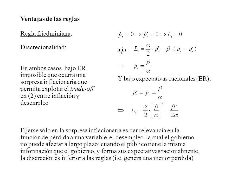 Ventajas de las reglas Regla friedminiana: Discrecionalidad: