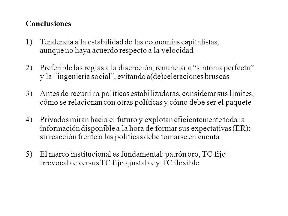 Conclusiones Tendencia a la estabilidad de las economías capitalistas, aunque no haya acuerdo respecto a la velocidad.