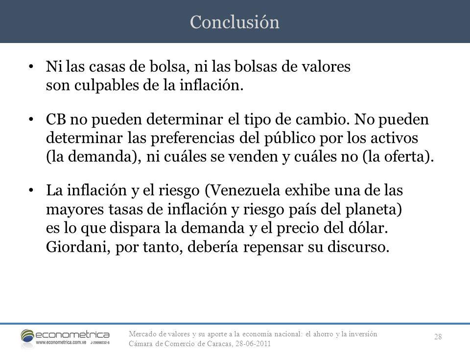 Conclusión Ni las casas de bolsa, ni las bolsas de valores son culpables de la inflación.
