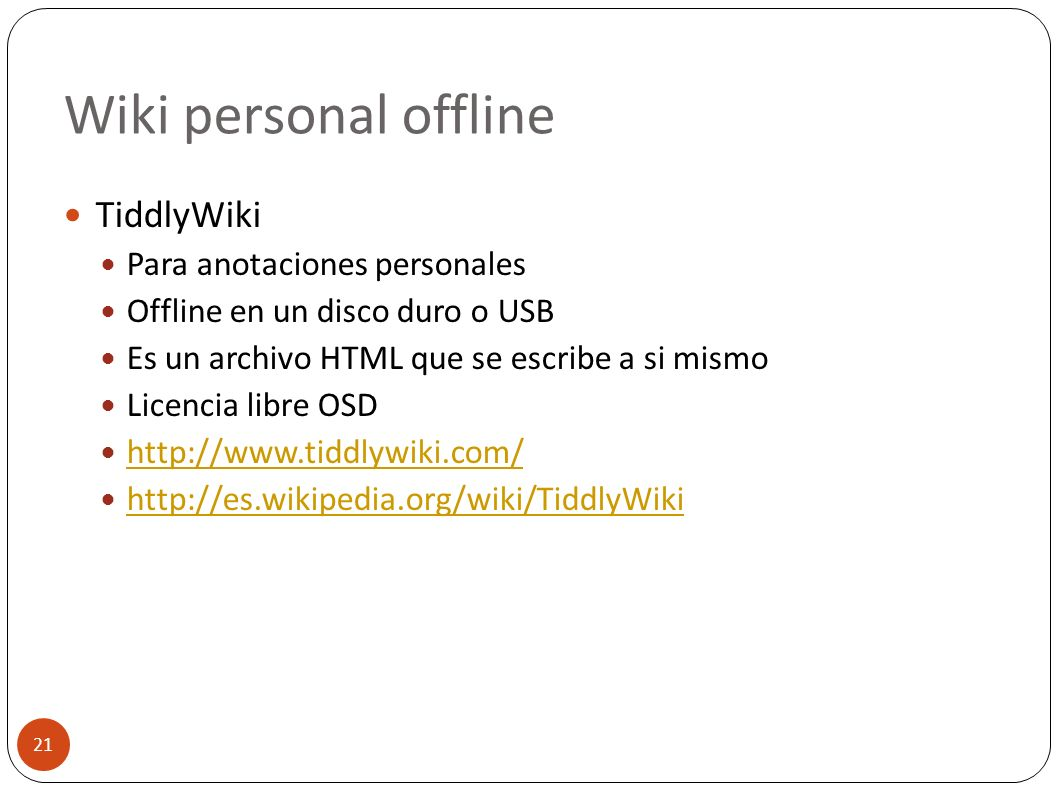 Wiki personal offline TiddlyWiki Para anotaciones personales
