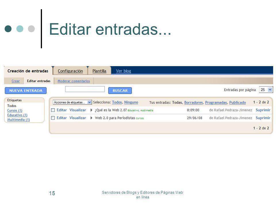 Servidores de Blogs y Editores de Páginas Web en línea