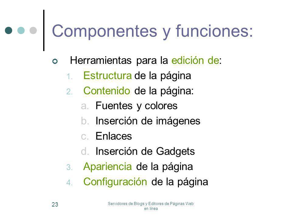 Componentes y funciones: