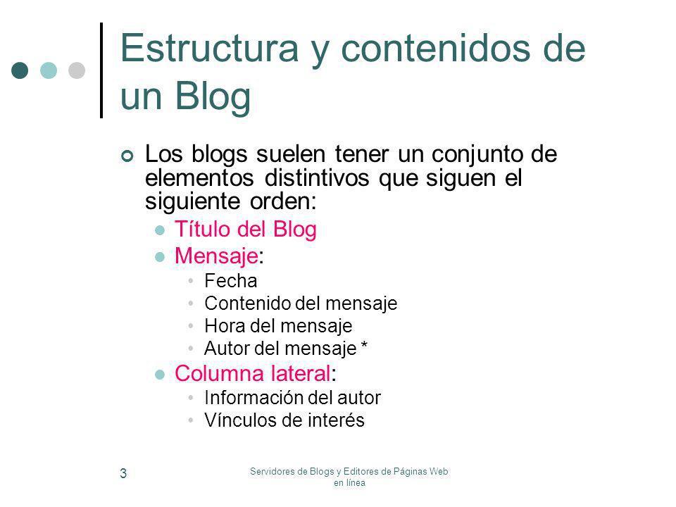 Estructura y contenidos de un Blog