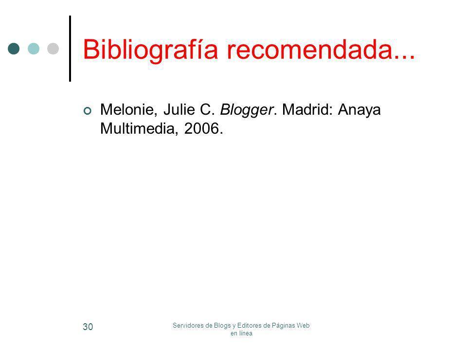 Bibliografía recomendada...