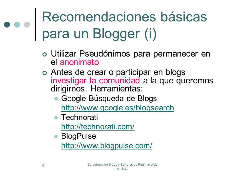 Recomendaciones básicas para un Blogger (i)