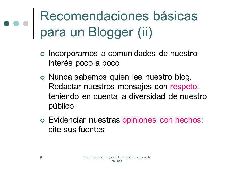Recomendaciones básicas para un Blogger (ii)