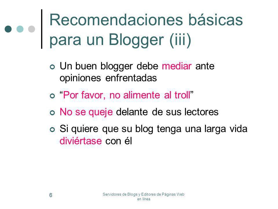 Recomendaciones básicas para un Blogger (iii)