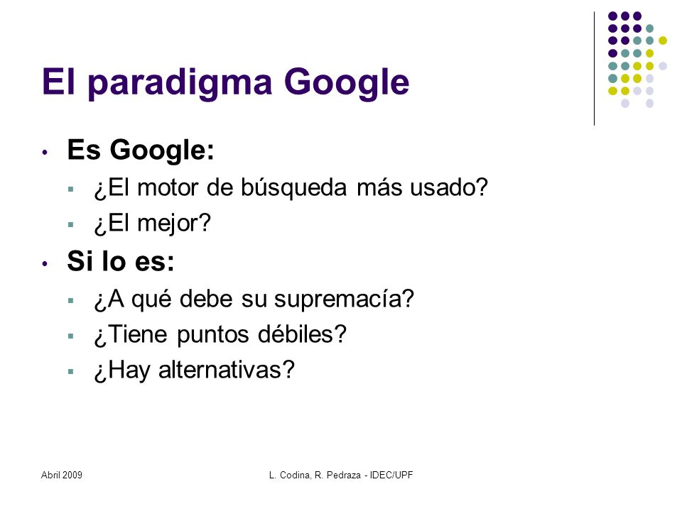 L. Codina, R. Pedraza - IDEC/UPF