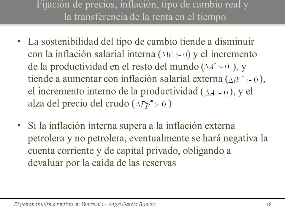 Fijación de precios, inflación, tipo de cambio real y la transferencia de la renta en el tiempo