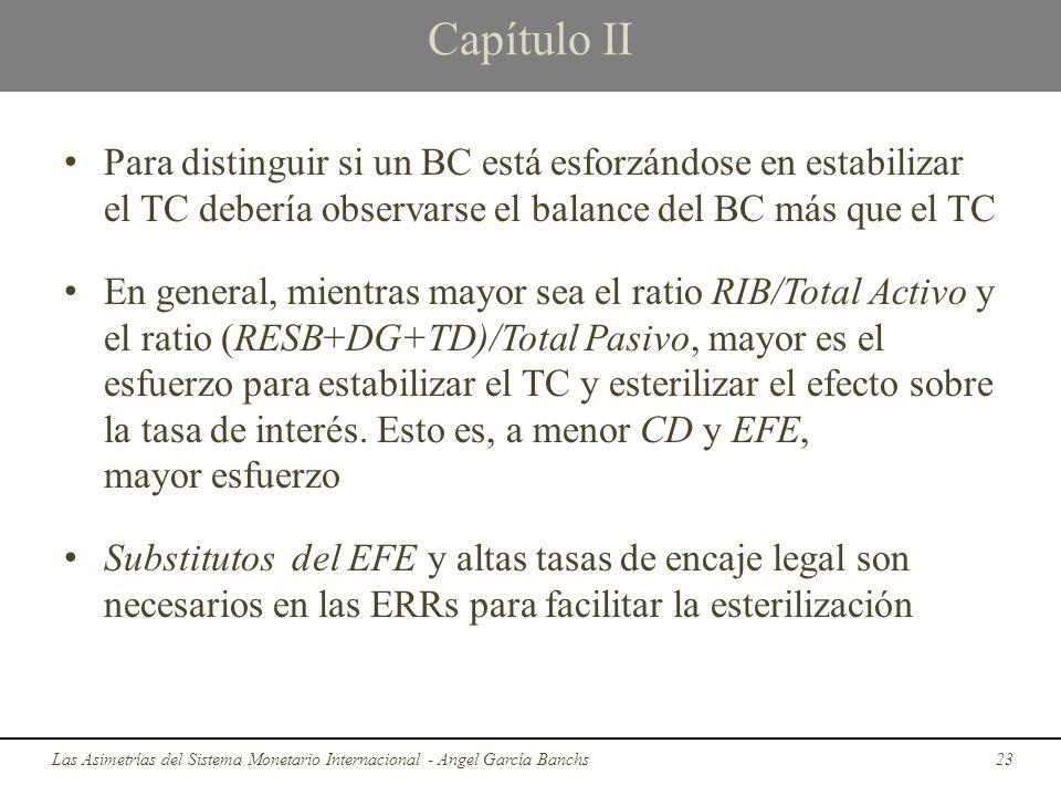 Capítulo II Para distinguir si un BC está esforzándose en estabilizar el TC debería observarse el balance del BC más que el TC.