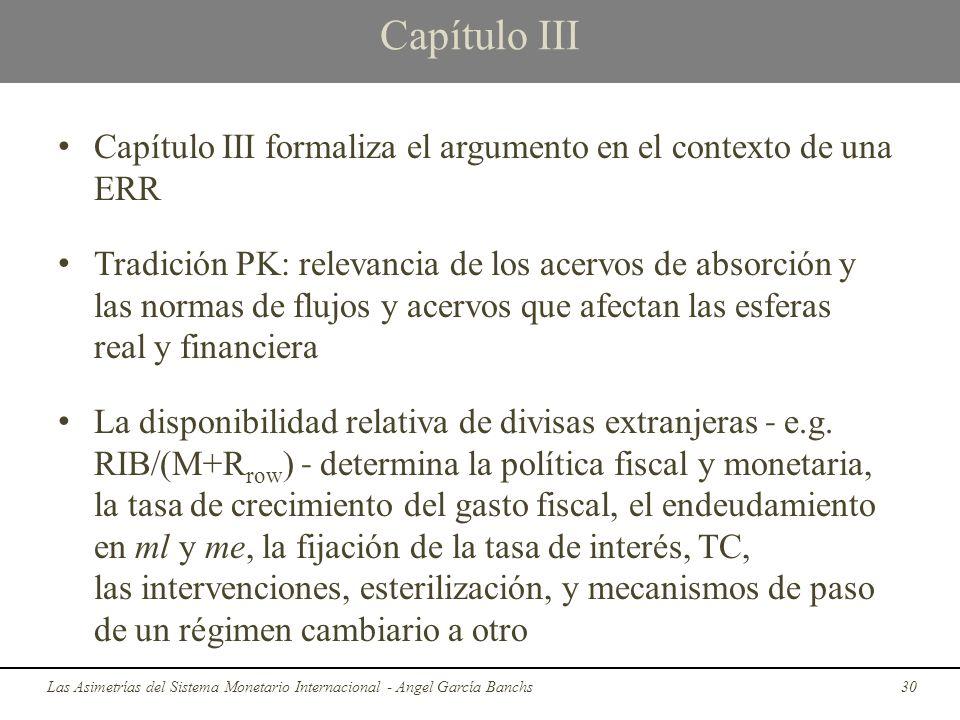 Capítulo III Capítulo III formaliza el argumento en el contexto de una ERR.