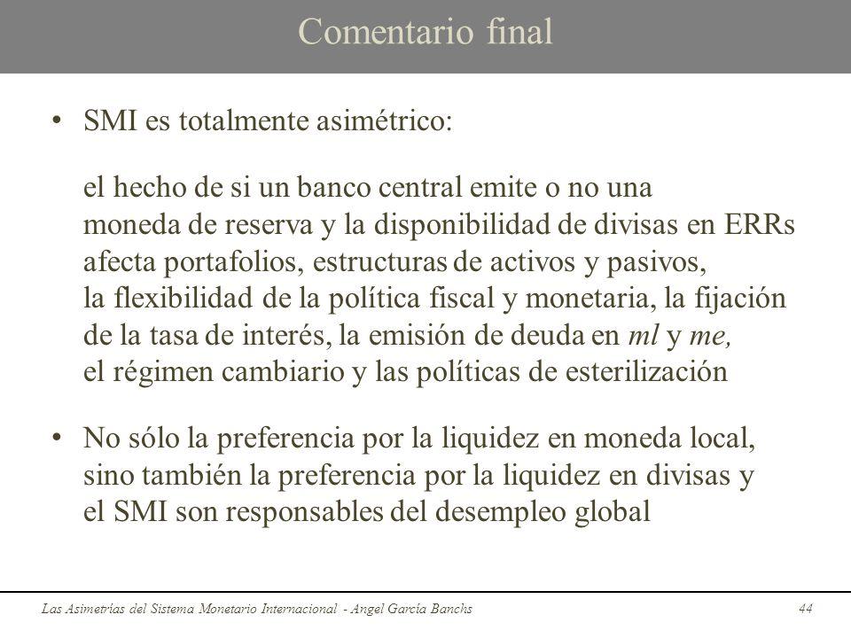Comentario final SMI es totalmente asimétrico: