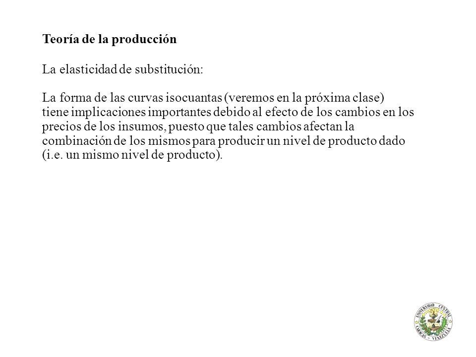 Teoría de la producción La elasticidad de substitución: